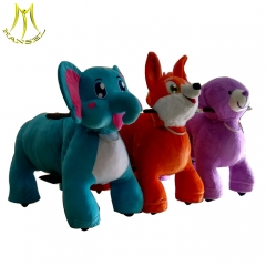 Hansel plush animal electric scooter in Guangzhou plush riding motorized animals electric ride on animals theme park equipment for sale