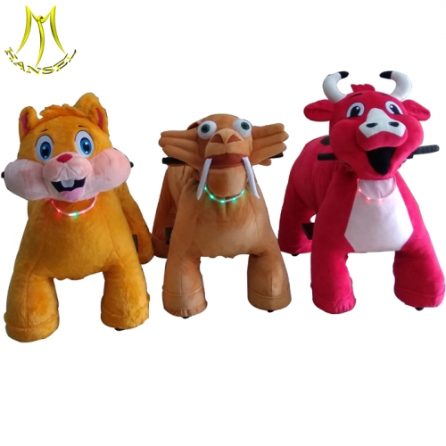 Hansel stuffed anima ride manufacture and cheap plush riding animals price list with amusement park games animal scooter for sale